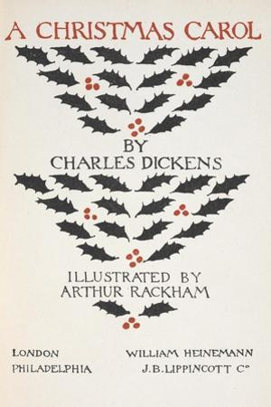 Title Page Illustrated With Holly Leaves and Berries by Arthur Rackham