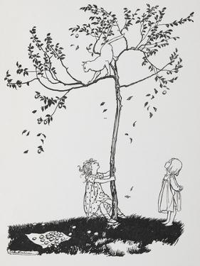 Two Children Try To Get a Cat Down From a Tree by Arthur Rackham