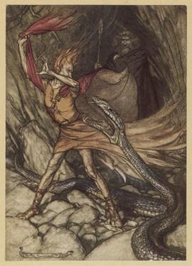 Wagner, Ring, Dragon by Arthur Rackham