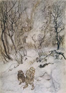 Wind in Willows, Rat Snow by Arthur Rackham