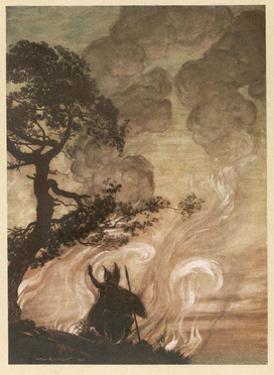 Wotan at the Pyre by Arthur Rackham