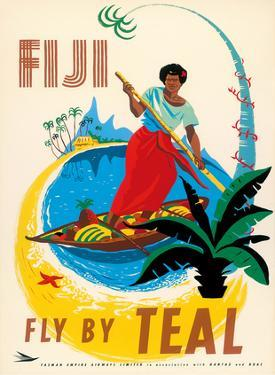 Tasman Empire Airways Limited - Fiji Fly by TEAL - Fijian Native Poles a Canoe by Arthur Thompson
