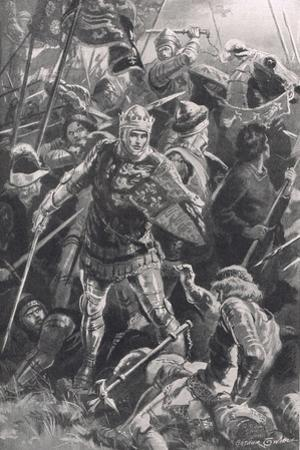 Henry V and the Duc d'Alencon at the Battle of Agincourt, 25th October 1415, Illustration from…