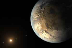 Artist's Concept of Kepler-186F Orbiting a Distant Star
