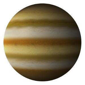 Artist's Depiction of a Gas Giant Planet on a White Background