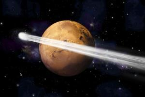 Artist's Depiction of the Comet C-2013 A1 Making a Close Pass by Mars
