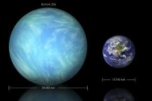 Artist's Depiction of the Difference in Size Between Earth and Kepler 22B