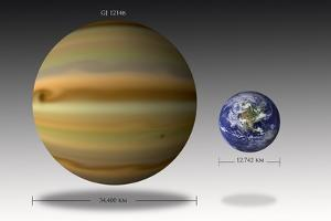 Artist's Depiction of the Size Relationship Between Earth and Gliese 1214B