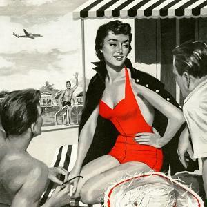 "Red Hot Woman  - Saturday Evening Post ""Leading Ladies"", May 22, 1954 pg.83 by Artist Unkown"