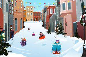 A Vector Illustration of Kids Sledding on a Snowy Street during Winter Season by Artisticco