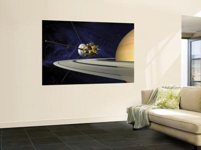 Artists Concept of Cassini During the Saturn Orbit Insertion Maneuver