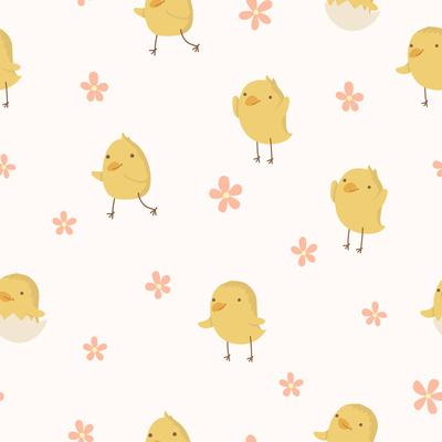 Easter Concept Seamless Pattern. Cute Small Chickens in Flowers