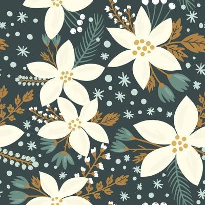 Hand Drawn Floral Seamless Vector Pattern. Winter and Fall Themed Background. Seamless Texture With