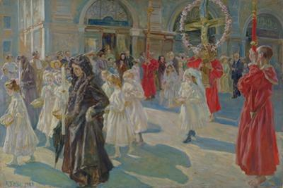 Procession of Corpus Christi in Piazza Grande in Trieste, 1908 by Arturo Fittke