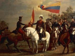 Simon Bolivar Honoring the Flag after Battle of Carabobo, June 24, 1821 by Arturo Michelena