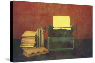Old Typewriter With Books Retro Colors On The Desk by Artush