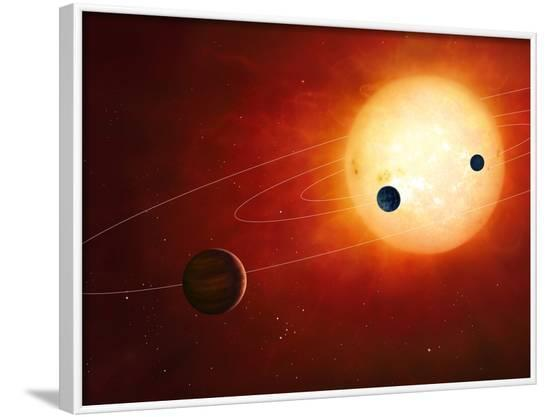 Artwork of Exoplanets around Nearby Star--Framed Photographic Print