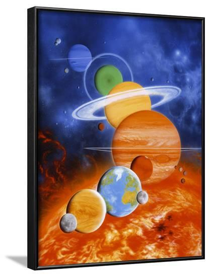 Artwork of Sun And Planets of Solar System-Julian Baum-Framed Photographic Print