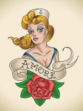 Old-School Navy Tattoo of a Pinup Lady with a Red Rose. Raster Image (Check My Portfolio for Option by Arty