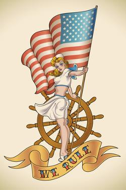 Old-School US NAVY Tattoo of a Pin-Up Lady with the Flag in Her Hand. Raster Image (Check My Portfo by Arty