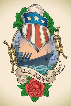 Old-School US NAVY Tattoo of a Star Striped Shield, Battleship, Banner and Rose. Raster Image (Chec by Arty