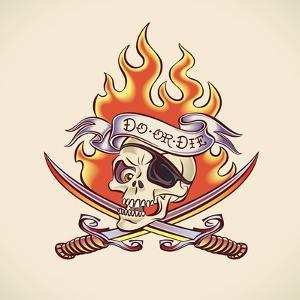 Vintage Tattoo Design with a Skull of Pirate, Swords, Flame and Banner. Raster Image. Find an Edita by Arty