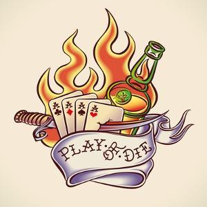 Vintage Tattoo Design with Aces, Dagger, Rum, Flame and Banner. Raster Image. Find an Editable Vers by Arty