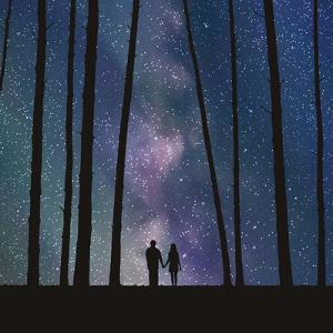 Lovers in Forest. Vector Illustration with Silhouette of Loving Couple under Starry Sky. Can Be Use by arvitalyaa