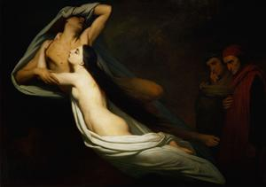 The shades of Francesca da Rimini and Paolo Malatesta appear to Dante and Virgil by Ary Scheffer