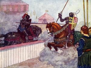 The Count Rode Again and Again at Edward Till His Lance Was Splintered in His Hand, C1270 by AS Forrest