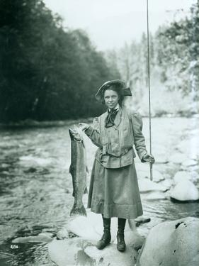 Eleanor Chittenden with Elwha River Trout by Asahel Curtis