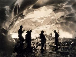Ice Cave with Party, Mount Rainier, Undated by Asahel Curtis