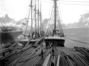 Loading Timber at Tacoma Mill, 1909 by Asahel Curtis