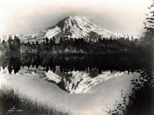 Mount Rainier From Spanaway Lake, 1922 by Asahel Curtis