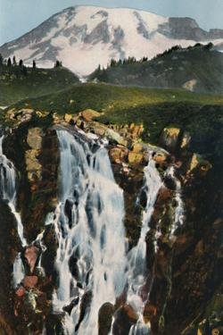 'Myrtle Falls and Mount Rainier', c1916 by Asahel Curtis