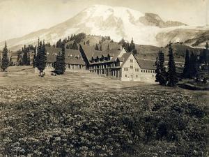 Paradise Inn and Mount Rainier, 1916 by Asahel Curtis