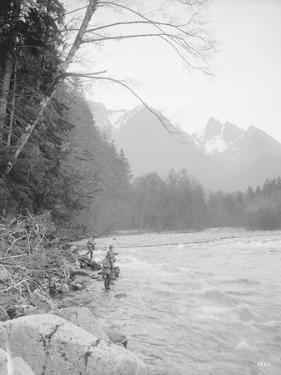 Skyskomish River Fishing, 1906 by Asahel Curtis