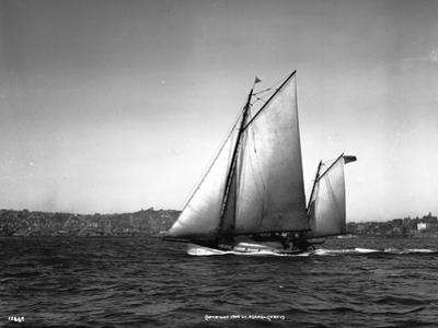 Sloop Sailboat Underway, Circa 1909
