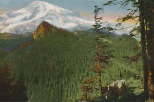 'The Road at Rickseeker Point, Mount Rainier in the Distance, Washington', c1916 by Asahel Curtis