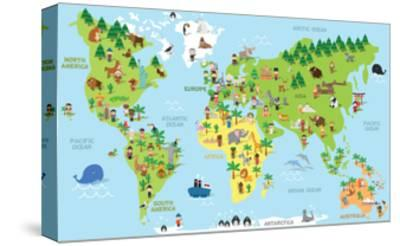 Funny Cartoon World Map with Children of Different Nationalities Animals and Monuments of All the C