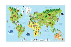 Funny Cartoon World Map with Children of Different Nationalities Animals and Monuments of All the C by asantosg