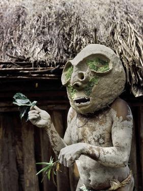 Asaro Tribesman with a Ritual Mud Mask, Goroka, Papua New Guinea, 1974