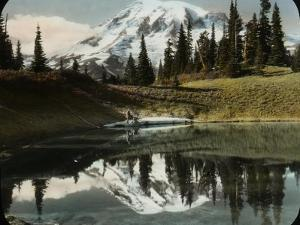 Mount Rainier and One of the Reflection Lakes, 1917 by Ashael Curtis