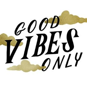 Good Vibes Only Gold Clouds by Ashley Santoro