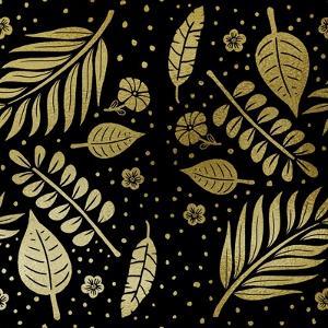 Tropical Leaf Pattern Gold by Ashley Santoro