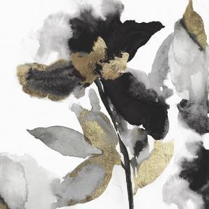 Black Petals Gold Leaves II by Asia Jensen