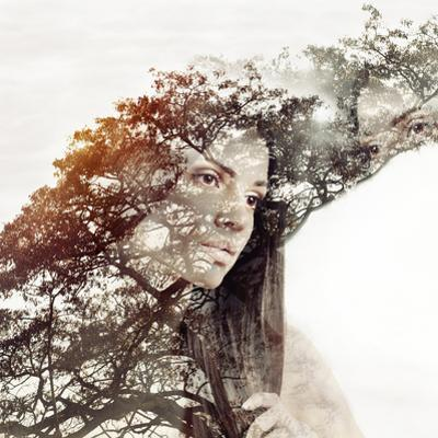 Double Exposure Magic Portrait of Sensual Beautiful Woman and Tr by Asia Yakushevich