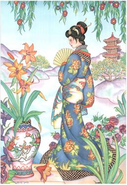 Asian Lady with Fan Lithograph Poster