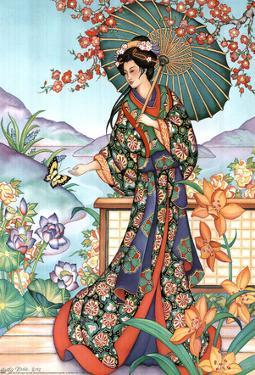 Asian Lady with Parasol Lithograph Poster