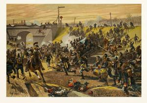 Assault on the Railway Dam before Orleans by the First Bavarian Corps on 11 October 1870. the Franc